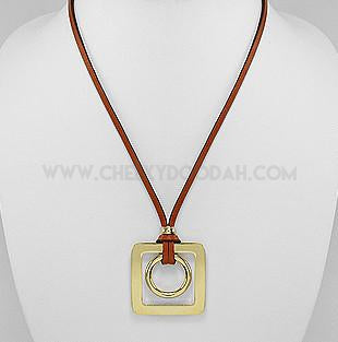 Burnt Orange leather necklace with Large gold pendant