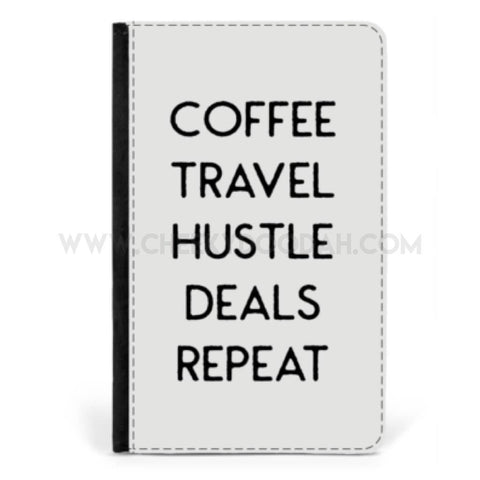 'Coffee Travel Hustle' Passport cover-Passport cover-CheekyDoodah