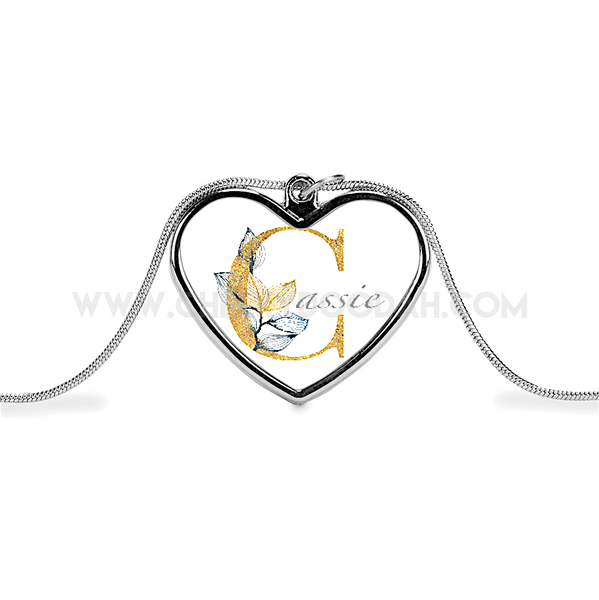 CheekyDoodah Personalised Floral Heart Necklace