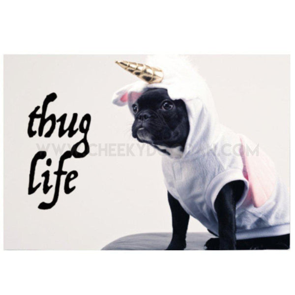 CheekyDoodah Pugs Thug Life Cotton Tea Towel with Pug dressed as a unicorn