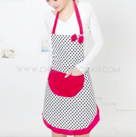 Burgundy Red polka dot apron
