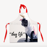CheekyDoodah Thug Life Cotton Apron, Red straps