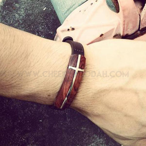 Rose Wood and Leather Bracelet