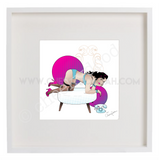 Framed vintage inspired original illustration - 'Sassie'