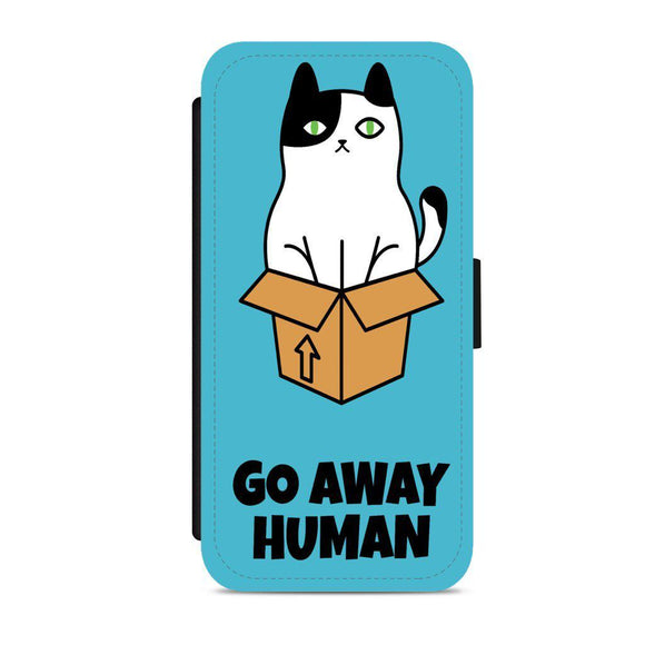 'Go away human' Faux Leather Flip Phone Case - CheekyDoodah