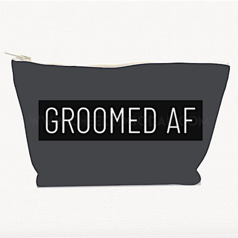 "Cheekydoodah ""Groomed AF"" Mens Large Canvas Toiletries Bag"