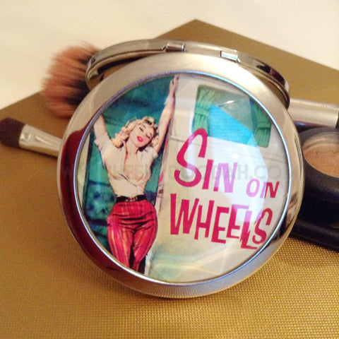 'Sin On Wheels' Compact Mirror-Compact mirrors-CheekyDoodah