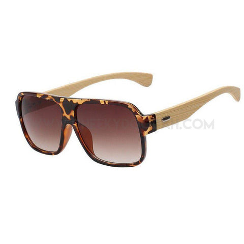 Square bamboo frame sunglasses leopard