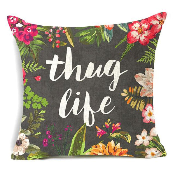 CheekyDoodah Thug Life print cushion cover