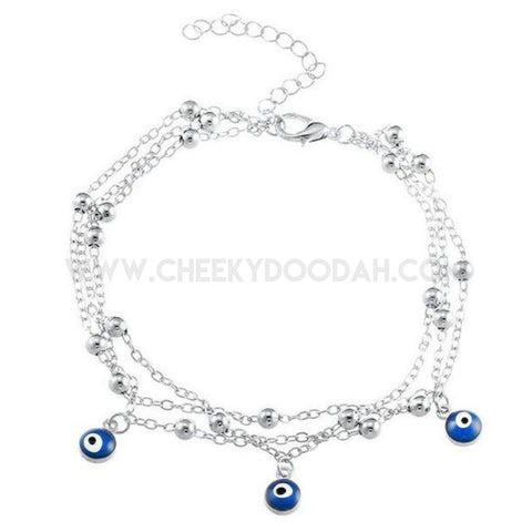 Turkish Eye Anklet in Silver Chain