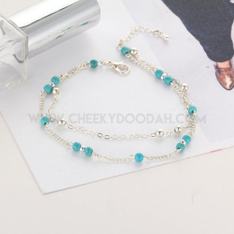 Double Layer Silver Chain Anklet with Turquoise or Cream Bead