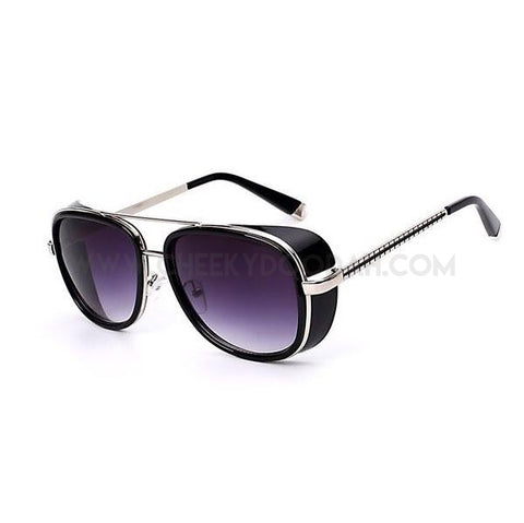 Square Alloy Vintage Sunglasses Black w smoke