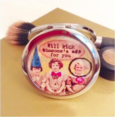 'Will Kick Someone' Compact Mirror-Compact mirrors-CheekyDoodah