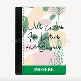 CheekyDoodah 'Will Work For Lipstick & Blusher' Passport Cover Green