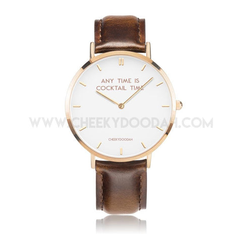 'Any Time Is Cocktail Time' Leather Watch-Watches-CheekyDoodah