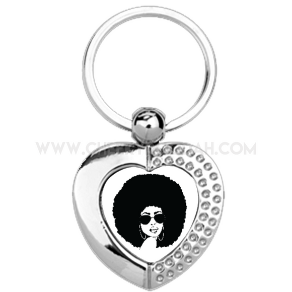 Afro Chick Heart Metal Keyring - CheekyDoodah
