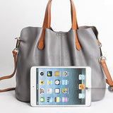 Leather Tote shoulder bag Grey with iPad