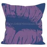 CheekyDoodah Middle Finger full colour double sided cushion purple lips on reverse
