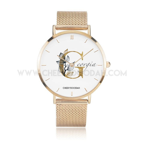 Ladies PERSONALISED Gold Floral Watch-Watches-CheekyDoodah
