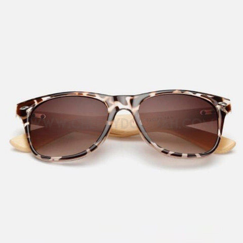 Retro Pilot Style Bamboo Sunglasses in a staggering 16 eye-catching designs. Leopard print frame.