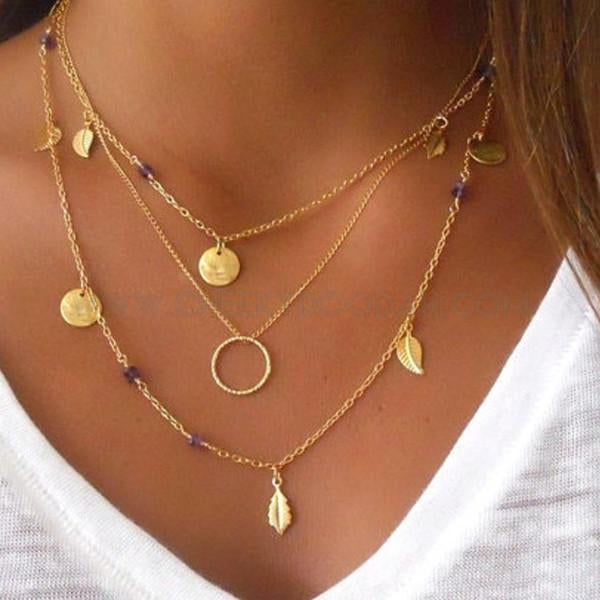 3 Tier Multi Layer Chain Necklace with Leaf design Gold