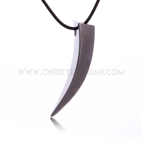 Mens Stainless Steel Wolf Tooth Spike Pendant Necklace - CheekyDoodah