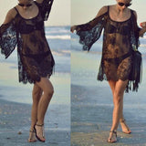 Boho Chic Beach Lace Dress with cut out shoulder feature beach girl