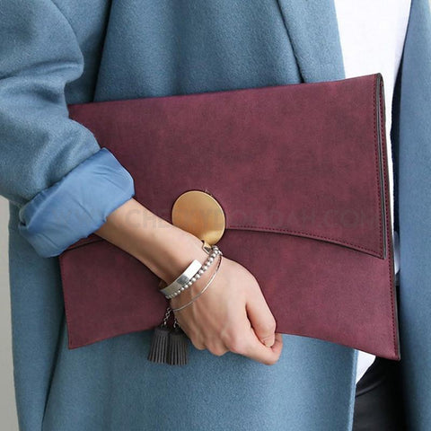 PU Leather envelope clutch wine red