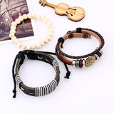 Mens 3 piece leather wood and bead bracelet set separated