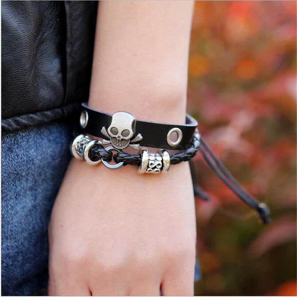 Mens Punk Style Skull Leather Bracelet - CheekyDoodah
