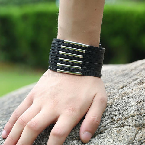 Mens Black Leather multi-strap bracelet on wrist
