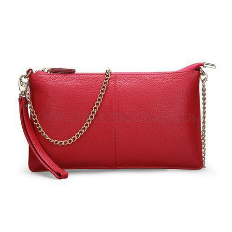 CheekyDoodah High Quality Leather Casual Clutch with chain strap, and zip closure, in Red Leather