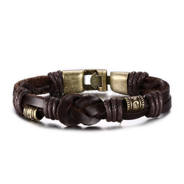 Mens Vintage Leather Knot Bracelet Brown