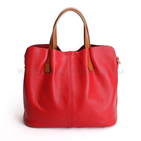 Leather Tote shoulder bag  Red