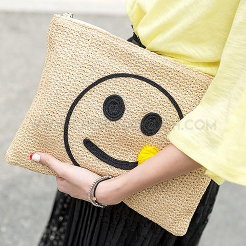Straw 'Smile' Clutch Bags-Bags-CheekyDoodah