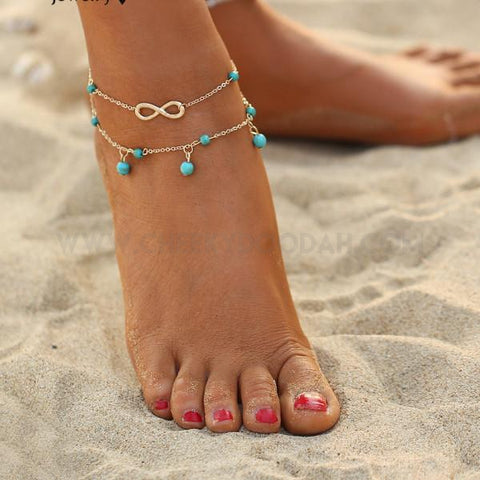 Double Infinity Bead Anklet with Turquoise stone charms - CheekyDoodah
