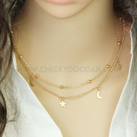 Moon and Stars Multi Layer Gold Necklace - CheekyDoodah