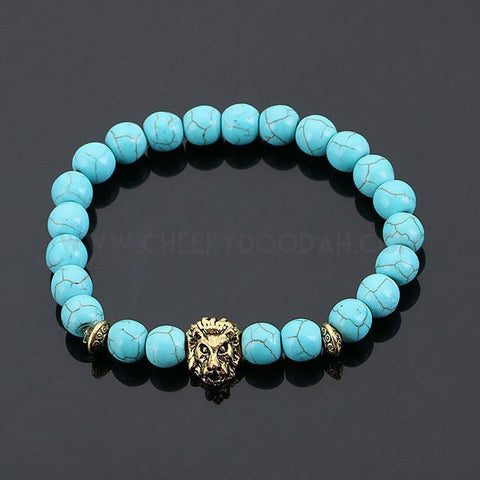 CheekyDoodah Mens Bead bracelet with Lion's head in Turquoise stone beads