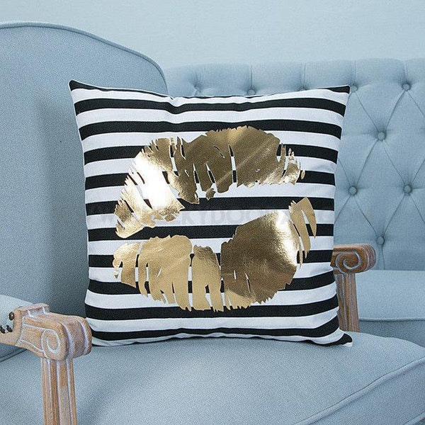 Gold Lips Printed Throw Pillow