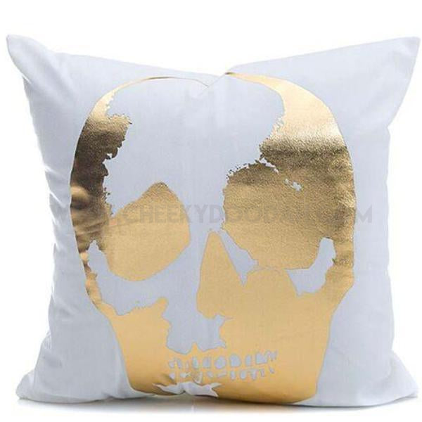 Gold Printed Skull Cushion Cover - CheekyDoodah
