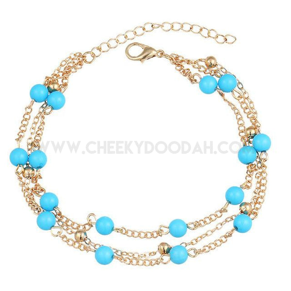 Triple Layer Bead Anklet with Turquoise Stone, in Gold or Silver