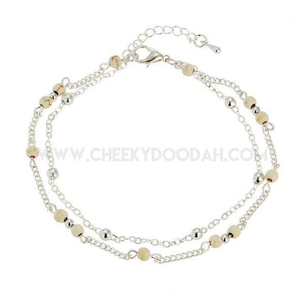 Double Layer Silver Chain Anklet with Cream bead.