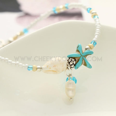 Shell and Starfish Bead Anklet
