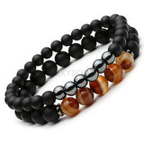 CheekyDoodah Mens Set of two Black Mantra prayer stone bead bracelets.  Titanium Steel & Natural Stone