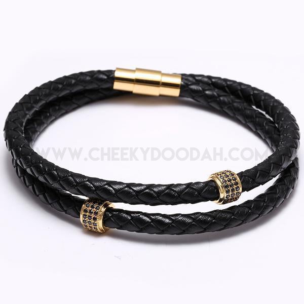 Stainless Steel black leather wrap bracelet gold