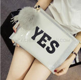 PVC clutch printed with letters YES in White