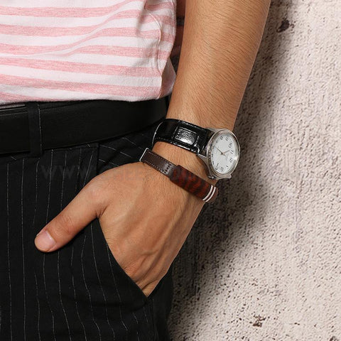 CheekyDoodah Mens Rosewood and Leather bracelet with Stainless steel clasp