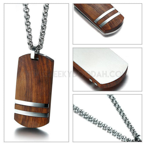Stainless steel and rosewood pendant necklace