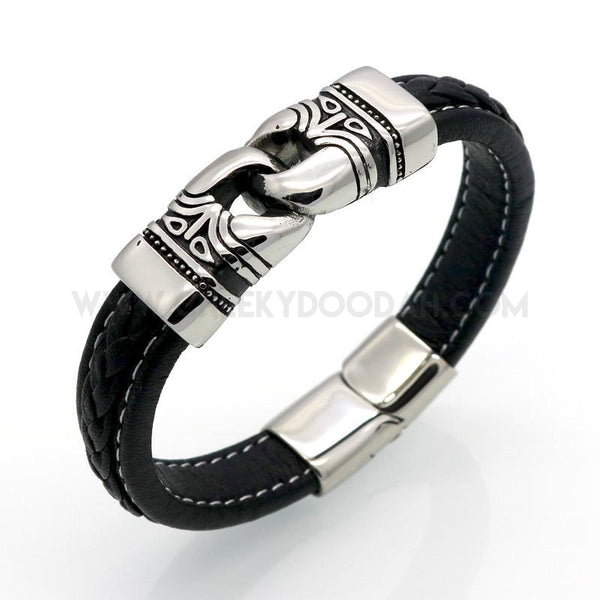 Leather and Stainless Steel Byzantine Bracelet - CheekyDoodah
