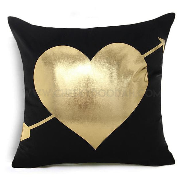 Gold Heart & Arrow Cushion Cover - CheekyDoodah